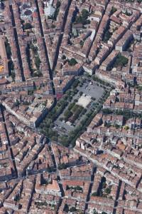 France, Bouches-du-Rhone (13),  Marseille, 1,2 4, 5 et 6 ème arrondissement, Place Jean Jaurès ou la Plaine (vue aérienne)