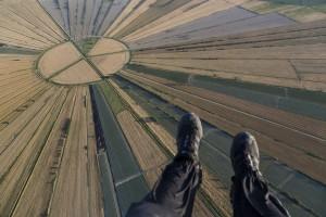 France, Hérault (34), Montady, ancien étang asséché au moyen-âge en forme de soleil ou d'étoile (vue aérienne)