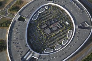 France, Maine-et-Loire (49), Angers, L'Atoll, centre commercial en forme d'ellipse sur la rocade ouest d'Angers sur la commune de Beaucouzé, architectes Antonio Virga et Vincent Parreira  (vue aérienne)