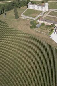 France, Gironde (33), Saint-Christophe-des-Bardes, Chateau Laroque, Grand Cru Classé de Saint-Emilion (vue aérienne)