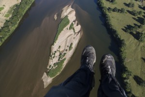 France, Maine-et-Loire (49), Saumur, île sur la Loire (vue aérienne)
