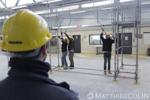 France, Bouches-du-Rhône (13), Marseille,   CFA BTP (Centre de Formation d Apprentis Bâtiment Travaux Publics) de Marseille, atelier montage d'échaffaudage