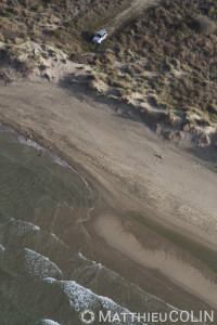 France, Gard (30), Camargue, Le Grau-du-Roi, plage à l'Est de l'Espiguette (vue aérienne)