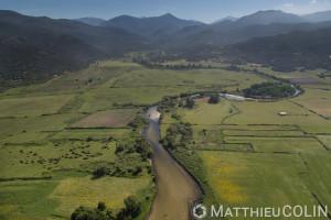 France. Corse du Sud (2A), golfe de Sagone, commune de Coggia, embouchure du Liamone (vue aérienne)