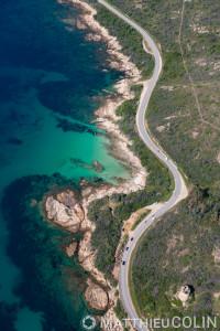 France. Corse du Sud (2A), golfe de Sagone,  commune de Vico, Punta di Trio, vriages de la route D81  (vue aérienne)