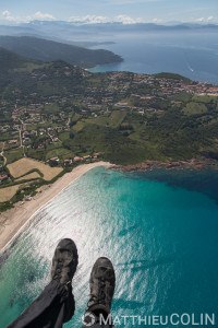 France. Corse du Sud (2A), golfe de Peru, commune de Cargèse, plage de Peru et pointe de Cargese  (vue aérienne)