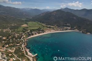 France. Corse du Sud (2A), golfe de Sagone, anse et plage de Sagone  (vue aérienne)