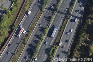 France, Val de Marne (94), Fresnes, autouroute du soleil A6A (vue aérienne)