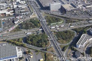 France, Val de Marne (94), Rungis et Thiais, échangeur autoroutier A86 et D7, Marché d'intérêt National, le plus grand marché de produits frais au monde  (vue aérienne)