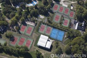 France, Val de Marne (94), Champigny sur Marne, parc de détente et de loisir du Tremblay,  terrain de tennis  (vue aérienne)