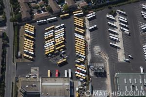 France, Gard (30), Nîmes, Kéolis, tango, dépôt de bus de l'agglomération nimoise (vue aérienne)