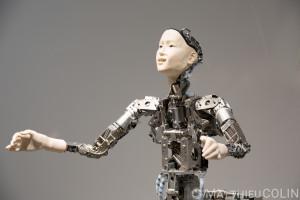 Japon, île de Honshu, région de Kanto, Tokyo, quartier de Odaiba, Miraikan, musée national des sciences émergentes et de l'innovation, robot parlant humanoïde